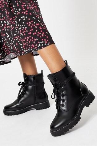 Lipsy Black Lace Up Biker Boot
