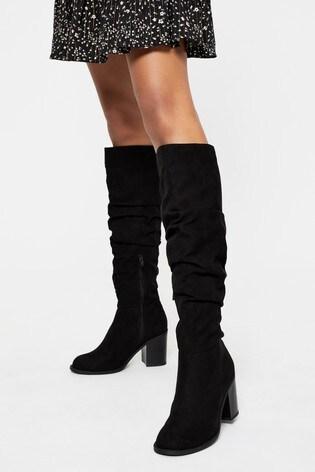 Lipsy Black Ruched Block Heel Boot