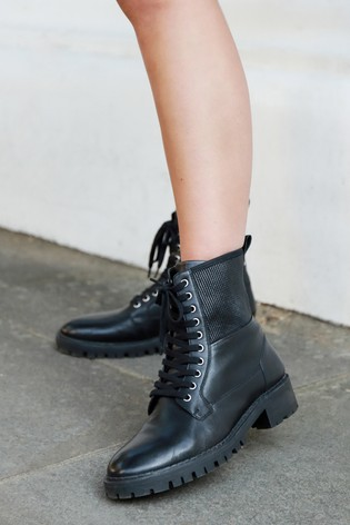 Lipsy Black Leather Biker Boot
