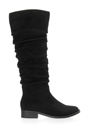 Lipsy Wide Fit Ruched Flat Knee Boot