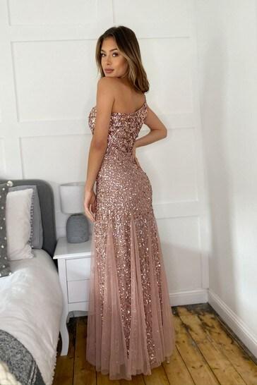 Sistaglam One Shoulder All Over Sequin Maxi Dress