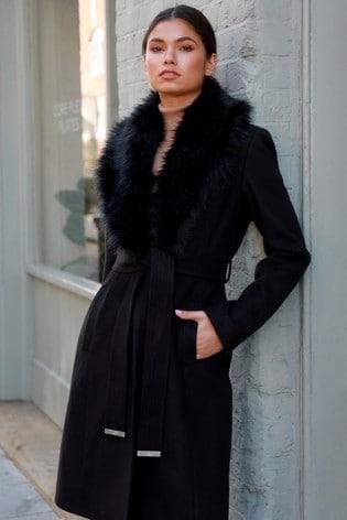 Lipsy Black Faux Fur Shawl Robe Coat