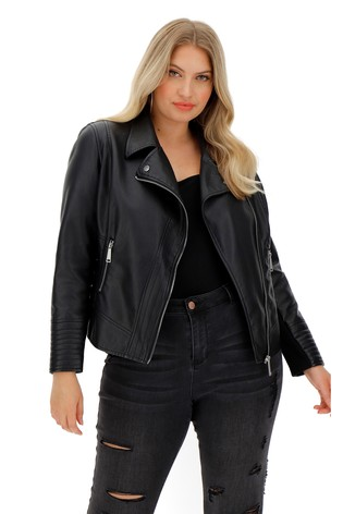 Simply Be Black Figure Shaping Biker Jacket With Jersey Panel Sleeves