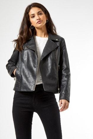 Dorothy Perkins Black Pu Biker Jacket