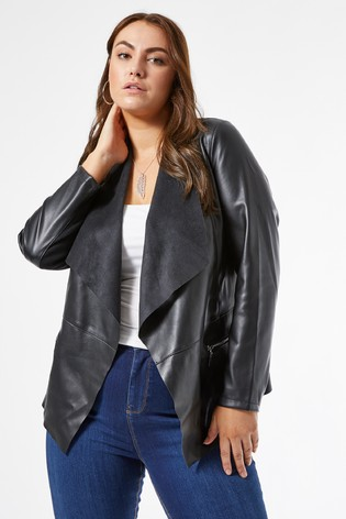 Dorothy Perkins Black Curve Faux Leather Waterfall Jacket