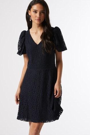 Dorothy Perkins Navy Petite Bubble Lace Dress