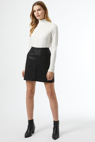 Dorothy Perkins Black Pu Pocket Mini Skirt