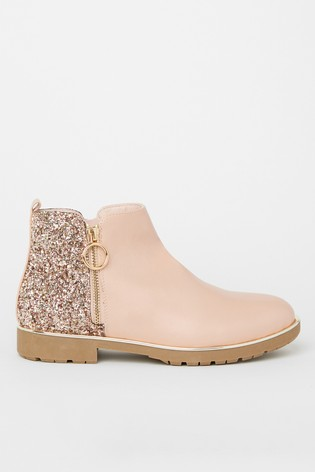 Lipsy Girl Pink Zip Flat Ankle Boot
