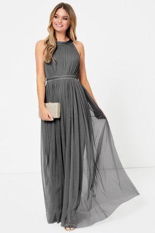 Anaya With Love Grey Bow Maxi Dress