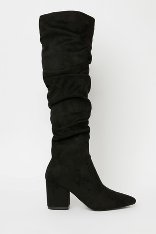 Raid Black Block Heeled Knee High Boot