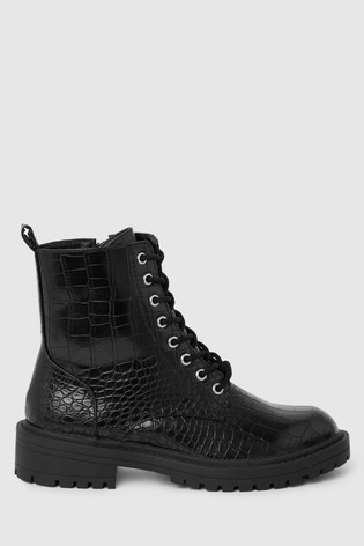 Raid Black Croc Effect Lace Up Ankle Boot