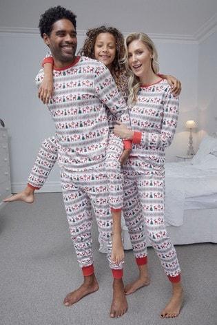 Fashion Union White Fairisle Matching Family Christmas Pyjamas