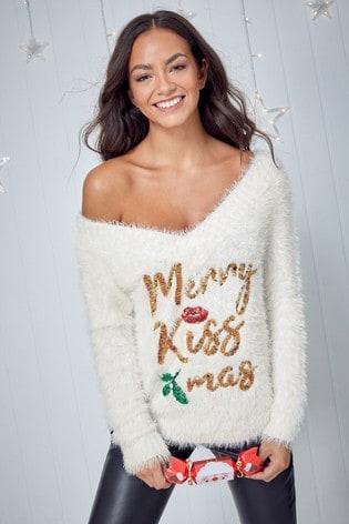 Fashion Union Fluffy Knit Bardot Sequin Slogan Christmas Jumper