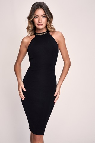 Lipsy Chain Knitted Halter Dress