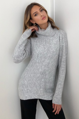 Lipsy Grey Cowl Neck Cable Detail Jumper