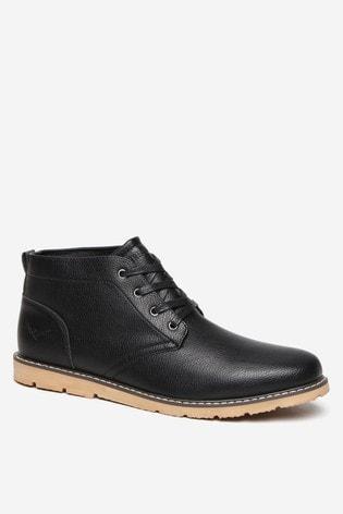 Threadbare Black Grained Leatherlook Chukka Boot