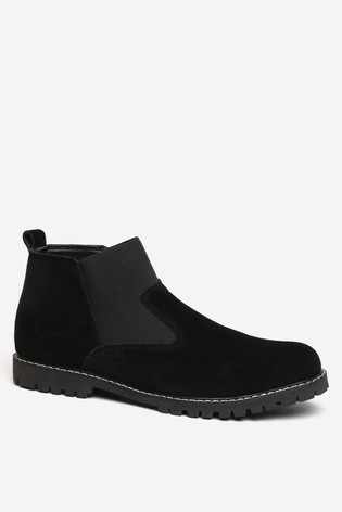 Threadbare Black Faux Suede Chelsea Boot