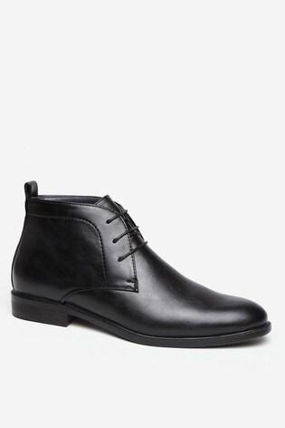 Threadbare Black Faux Leather  Desert Boot