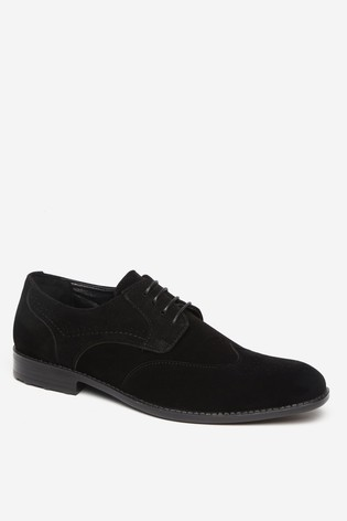 Threadbare Black Shoes Faux Suede Full Brogue