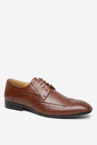 Threadbare Brown Faux Leather Brogues