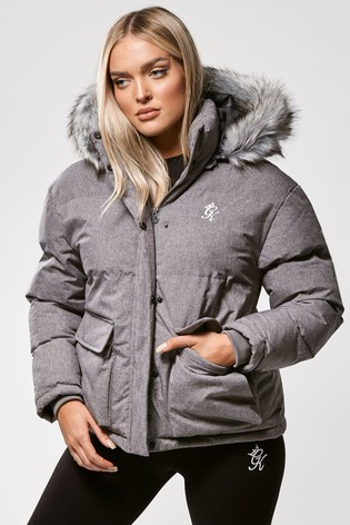 Gym King Grey Faux Fur Quilted Parka