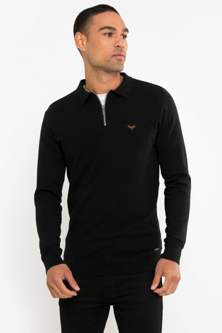 Threadbare Black Knitted Polo