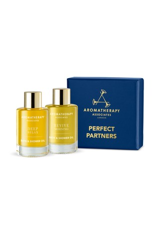 Aromatherapy Associates Perfect Partners, Deep Relax Bath and Shower Oil 9ml & Revive Morning Bath and Shower Oil 9ml