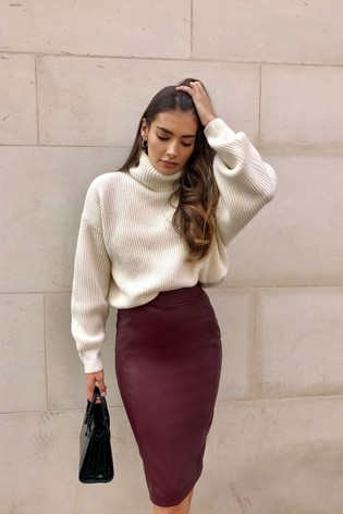 Lipsy Berry Faux Leather Pencil Skirt