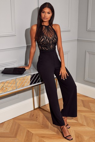 Lipsy Black Sequin Halter Jumpsuit