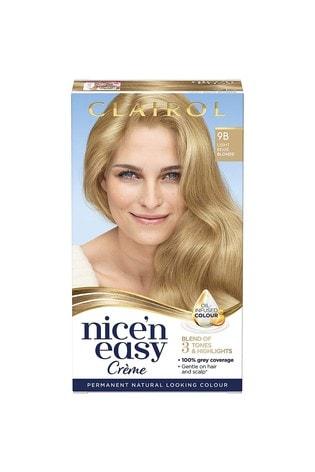 Clairol Nice' n Easy Crème, Natural Looking Oil Infused Permanent Hair Dye, 9B Light Beige Blonde 177 ml