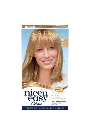 Clairol Nice' n Easy Crème, Natural Looking Oil Infused Permanent Hair Dye, 9A Light Ash Blonde 177 ml