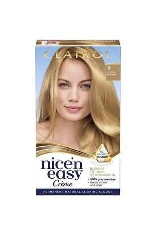 Clairol Nice' n Easy Crème, Natural Looking Oil Infused Permanent Hair Dye, 8 Medium Blonde 177 ml