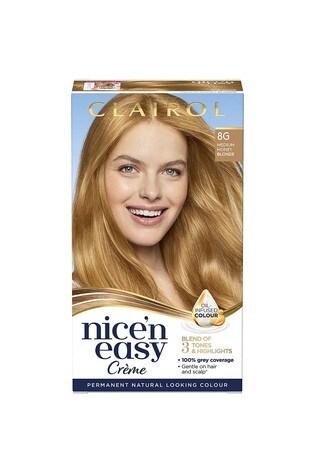 Clairol Nice' n Easy Crème, Natural Looking Oil Infused Permanent Hair Dye, 8G Medium Honey Blonde 177 ml