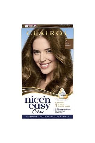 Clairol Nice' n Easy Crème, Natural Looking Oil Infused Permanent Hair Dye, 6 Light Brown 177 ml