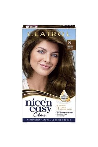 Clairol Nice' n Easy Crème, Natural Looking Oil Infused Permanent Hair Dye, 5G Medium Golden Brown 177 ml