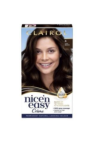 Clairol Nice' n Easy Crème, Natural Looking Oil Infused Permanent Hair Dye, 4 Dark Brown 177 ml