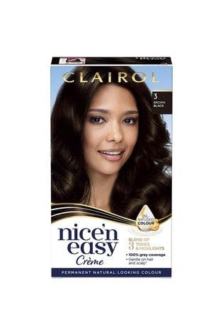 Clairol Nice' n Easy Crème, Natural Looking Oil Infused Permanent Hair Dye, 3 Brown Black 177 ml