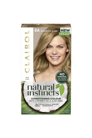 Clairol Natural Instincts Semi-Permanent No Ammonia Vegan Hair Dye, 8A California Beach/ Medium Cool Blonde, 177ml