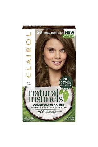 Clairol Natural Instincts Semi-Permanent No Ammonia Vegan Hair Dye, 5 Medium Golden Brown, 177 ml