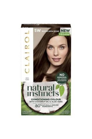 Clairol Natural Instincts Semi-Permanent No Ammonia Vegan Hair Dye, 5W Medium Warm Brown, 177 ml