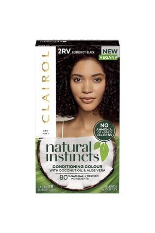 Clairol Natural Instincts Semi-Permanent No Ammonia Vegan Hair Dye, 2RV Burgundy Black, 177 ml