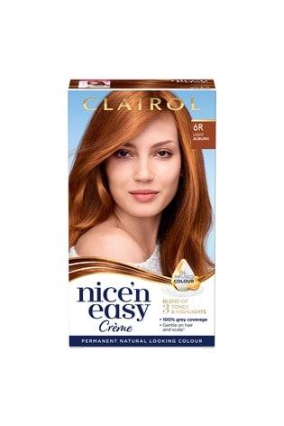 Clairol Nice' n Easy Crème, Natural Looking Oil Infused Permanent Hair Dye, 6R Light Auburn 177 ml
