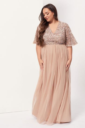 Maya Pink Plus V Neck Delicate Sequin Maxi Dress