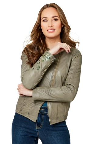 Joe Browns Embroidered Leather Jacket