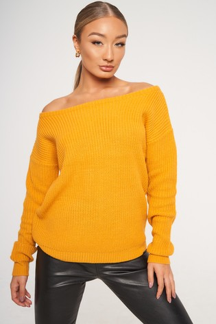 Missguided Yellow Ophelita Off Shoulder Jumper