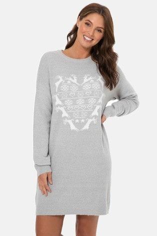 Threadbare Grey Christmas Long-Lined Jumper