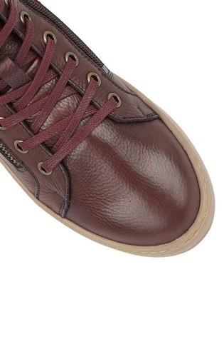 Lotus Footwear Burgundy Leather High Top Trainers