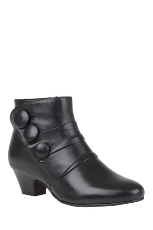Lotus Black Footwear Leather Ankle Boots
