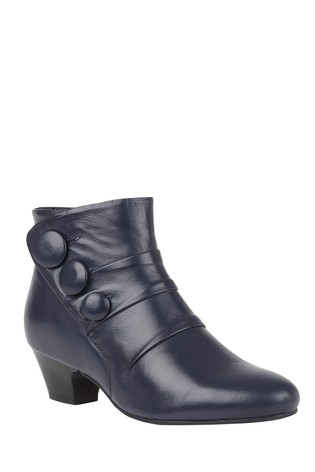 Lotus Navy Footwear Leather Ankle Boots