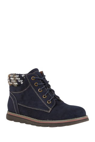 Lotus Navy Footwear Lace-Up Ankle Boots